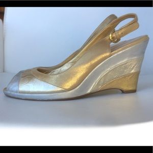 COACH 10B SHOES ABRIANNA SLING BACK WEDGE OPEN TOE